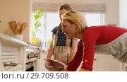 Купить «Mother removing freshly baked cookies out of the oven while daughter smelling it 4K 4k», видеоролик № 29709508, снято 10 августа 2017 г. (c) Wavebreak Media / Фотобанк Лори