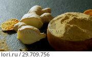 Купить «Dried lemon with ginger and ginger powder 4k », видеоролик № 29709756, снято 12 июня 2017 г. (c) Wavebreak Media / Фотобанк Лори