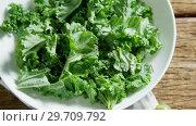 Купить «Green leafy vegetable and tomato on wooden table 4k», видеоролик № 29709792, снято 12 июня 2017 г. (c) Wavebreak Media / Фотобанк Лори