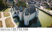Купить «Aerial view of castle Chateau de Sully-sur-Loire, France», видеоролик № 29710108, снято 24 октября 2018 г. (c) Яков Филимонов / Фотобанк Лори