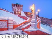 Купить «Георгиевская башня Нижегородского Кремля St. George's Tower of the Nizhny Novgorod Kremlin», фото № 29710644, снято 5 января 2019 г. (c) Baturina Yuliya / Фотобанк Лори