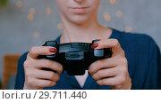 Woman using joystick or gamepad. Стоковое видео, видеограф Aleksey Popov / Фотобанк Лори