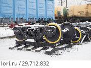 Купить «Колесные пары железнодорожных вагонов», фото № 29712832, снято 10 ноября 2018 г. (c) Яковлев Сергей / Фотобанк Лори