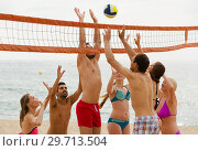 Купить «adults throwing ball over net and laughing», фото № 29713504, снято 23 июля 2019 г. (c) Яков Филимонов / Фотобанк Лори