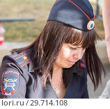 Купить «Unidentified woman police officer from Russia in uniform», фото № 29714108, снято 17 сентября 2017 г. (c) FotograFF / Фотобанк Лори