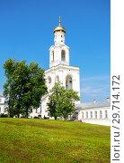 Купить «Bell tower of the St. George (Yuriev) Orthodox Male Monastery», фото № 29714172, снято 17 августа 2017 г. (c) FotograFF / Фотобанк Лори