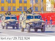 """Купить «Russia, Samara, May 2018: Army special armored vehicle """"Tiger"""" in the city.», фото № 29722924, снято 5 мая 2018 г. (c) Акиньшин Владимир / Фотобанк Лори"""