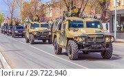 """Купить «Russia, Samara, May 2018: Army special armored vehicle """"Tiger"""" in the city.», фото № 29722940, снято 5 мая 2018 г. (c) Акиньшин Владимир / Фотобанк Лори"""