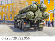 Купить «Russia, Samara, May 2018: Anti-aircraft missile system (SAM) S-300 parked up on the city street», фото № 29722956, снято 5 мая 2018 г. (c) Акиньшин Владимир / Фотобанк Лори