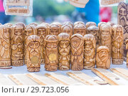 Купить «Russia, Samara, July, 2018: Wooden amulet toys. Ethno-historical festival with the reconstruction of the battle of 1391 (Timur and Tokhtamysh)», фото № 29723056, снято 29 июля 2018 г. (c) Акиньшин Владимир / Фотобанк Лори
