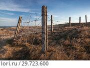 Купить «Old barbed wire fence is on dry grass», фото № 29723600, снято 28 октября 2018 г. (c) EugeneSergeev / Фотобанк Лори
