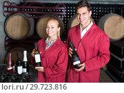 Купить «Two happy winery employees in aging section in cellar», фото № 29723816, снято 21 сентября 2016 г. (c) Яков Филимонов / Фотобанк Лори
