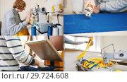 Купить «4 in 1: a woman sitting by sewing machine on the factory», видеоролик № 29724608, снято 16 января 2019 г. (c) Константин Шишкин / Фотобанк Лори