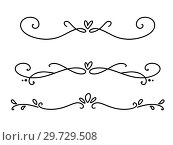 Купить «Vector vintage line elegant valentine dividers and separators, swirls and corners decorative ornaments. Floral lines filigree design heart elements. Flourish curl elements for invitation or menu page illustration», иллюстрация № 29729508 (c) Happy Letters / Фотобанк Лори