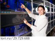 Купить «Girl in aquarium shop points to colored fish», фото № 29729688, снято 17 февраля 2017 г. (c) Яков Филимонов / Фотобанк Лори