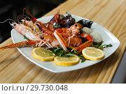 Купить «Plate with cooked shrimps, langoustines, clams», фото № 29730048, снято 26 января 2018 г. (c) Яков Филимонов / Фотобанк Лори