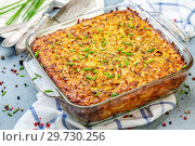 Homemade potato casserole kugel. Стоковое фото, фотограф Марина Сапрунова / Фотобанк Лори