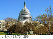 Купить «United States Capitol, often called Capitol Building, home of United States Congress and seat of legislative branch of U.S. federal government, in park. Capitol Hill, National Mall, Washington, D.C.», фото № 29734296, снято 26 ноября 2018 г. (c) Валерия Попова / Фотобанк Лори