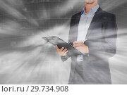 Купить «Businessman on city landscape background», фото № 29734908, снято 19 июля 2012 г. (c) Яков Филимонов / Фотобанк Лори