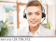 Купить «helpline operator in headset working at office», фото № 29736312, снято 1 июня 2013 г. (c) Syda Productions / Фотобанк Лори