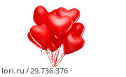 Купить «red heart shaped helium balloons on white», фото № 29736376, снято 30 ноября 2018 г. (c) Syda Productions / Фотобанк Лори