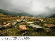 Купить «Древнее кладбище у села Ардви, Армения», фото № 29736696, снято 28 сентября 2018 г. (c) Инна Грязнова / Фотобанк Лори