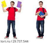 Купить «Young student with backpack isolated on white», фото № 29737544, снято 9 апреля 2020 г. (c) Elnur / Фотобанк Лори