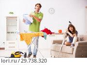 Купить «Husband helping leg injured wife in housework», фото № 29738320, снято 4 октября 2018 г. (c) Elnur / Фотобанк Лори