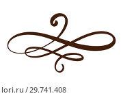 Vector vintage line elegant divider and separator, swirl decorative ornament. Floral line filigree design element. Flourish curl element for invitation or menu page illustration. Стоковая иллюстрация, иллюстратор Happy Letters / Фотобанк Лори
