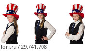 Купить «Woman wearing hat with american symbols», фото № 29741708, снято 21 января 2019 г. (c) Elnur / Фотобанк Лори