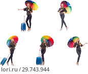 Купить «Woman with suitcase and umbrella isolated on white», фото № 29743944, снято 20 января 2019 г. (c) Elnur / Фотобанк Лори