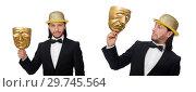Купить «Man with theater mask isolated on white», фото № 29745564, снято 9 января 2015 г. (c) Elnur / Фотобанк Лори