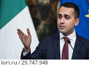 Купить «Italian Minister of Labour and Industry and Deputy Prime Minister Luigi Di Maio during the press conference, Rome, ITALY-17-01-2019.», фото № 29747948, снято 17 января 2019 г. (c) age Fotostock / Фотобанк Лори