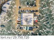 Купить «Организованное крещенское купание в городе Краснокаменске, Забайкальский край, вид сверху», фото № 29750720, снято 19 января 2019 г. (c) Геннадий Соловьев / Фотобанк Лори