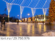 Купить «Christmas (New Year holidays) decoration in Moscow (at night), Russia. Lubyanskaya (Lubyanka) Square.», фото № 29750976, снято 13 января 2019 г. (c) Владимир Журавлев / Фотобанк Лори