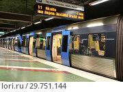 Купить «Train at Kungstradgarden, station of Stockholm metro. Швеция», фото № 29751144, снято 9 июля 2018 г. (c) Валерия Попова / Фотобанк Лори