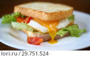 Купить «Fresh sandwich with lettuce leaves and fried egg with hot toasts», видеоролик № 29751524, снято 19 января 2019 г. (c) Peredniankina / Фотобанк Лори