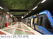 Купить «Train at Kungstradgarden, station of Stockholm metro, Blue Line. Швеция», фото № 29751616, снято 9 июля 2018 г. (c) Валерия Попова / Фотобанк Лори