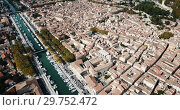 Купить «Aerial view of historic center of Beaucaire city, France», видеоролик № 29752472, снято 24 октября 2018 г. (c) Яков Филимонов / Фотобанк Лори