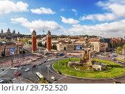 Купить «Spanish square in Barcelona, top view. Catalonia, Spain», фото № 29752520, снято 9 апреля 2018 г. (c) Наталья Волкова / Фотобанк Лори