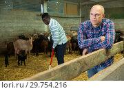Купить «Portrait of man goat breeder», фото № 29754216, снято 15 декабря 2018 г. (c) Яков Филимонов / Фотобанк Лори