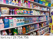 Купить «Assortment goods of household chemicals at shelves in the store», фото № 29754756, снято 21 июня 2018 г. (c) Яков Филимонов / Фотобанк Лори