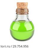 Small bottle with a cork filled with green liquid. Medical concept. Стоковая иллюстрация, иллюстратор Маринченко Александр / Фотобанк Лори