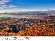 Купить «Северный Кавказ. Вид с горы Шелудивая. Гора Эльбрус», фото № 29755108, снято 28 октября 2018 г. (c) Николай Николенко / Фотобанк Лори