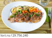 Купить «Barbecued lamb chops with aubergine», фото № 29756240, снято 23 января 2019 г. (c) Яков Филимонов / Фотобанк Лори