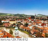Купить «Top view of Cesky Krumlov, Czech Republic», фото № 29756612, снято 6 сентября 2014 г. (c) Наталья Волкова / Фотобанк Лори