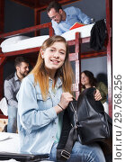 Happy girl with knapsack. Стоковое фото, фотограф Яков Филимонов / Фотобанк Лори