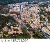 Купить «Aerial view of typical town of Basque Country. Estella-Lizarra. Spain», фото № 29768564, снято 3 декабря 2018 г. (c) Яков Филимонов / Фотобанк Лори