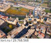 Aerial view of Royal Palace of Olite, Navarre, Spain (2018 год). Стоковое фото, фотограф Яков Филимонов / Фотобанк Лори