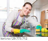 Купить «Female is caring about clean of kitchen», фото № 29773712, снято 29 марта 2018 г. (c) Яков Филимонов / Фотобанк Лори